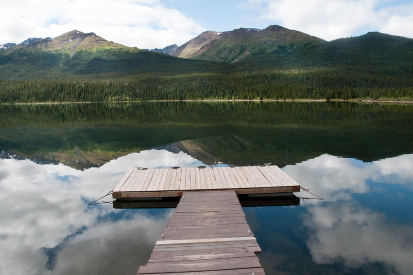 A dock at a remote lake in northern British Columbia, Canada