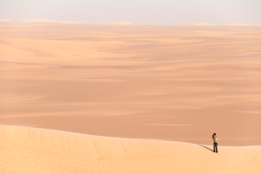 Atop a sand dune in the Great Sand Sea, Western Desert, Egypt