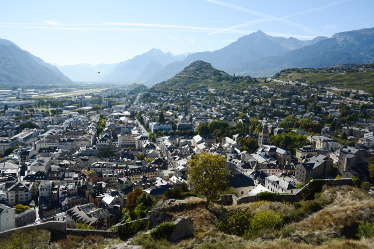 A view of the city of Sion in the Valais region of Switzerland