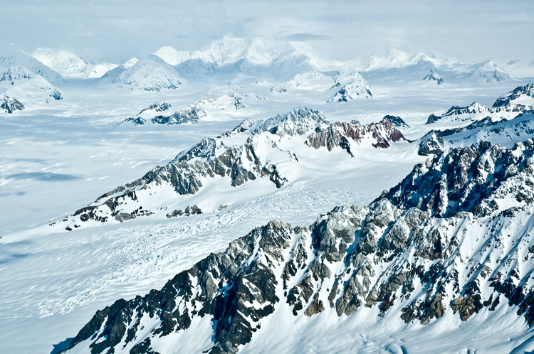 The St. Elias Mountains and icefields in Kluane National Park, Yukon, Canada.
