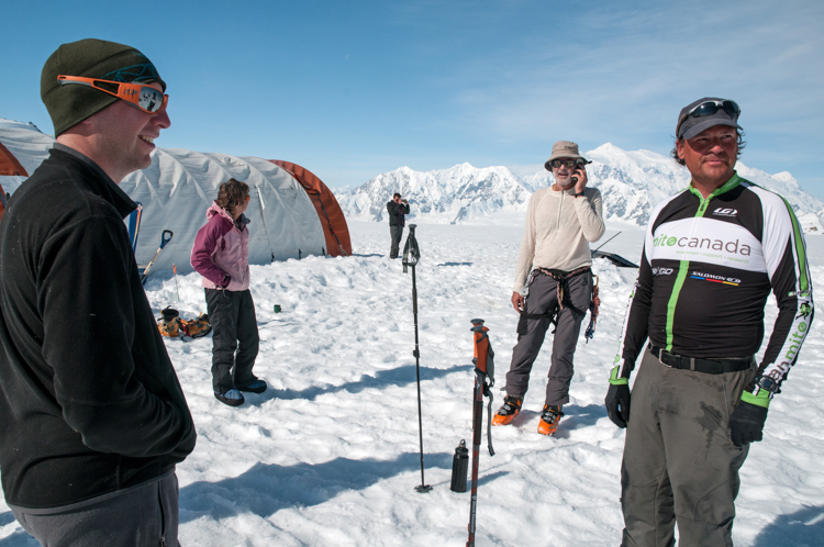 Circumski Mount Logan team arrives at icefields glacier camp, Kluane National Park, Yukon.