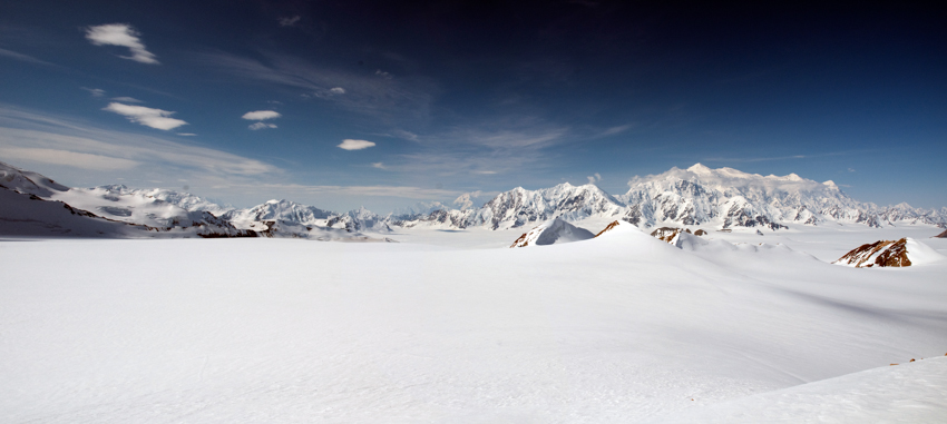 Mount Logan in the icefields of Kluane National Park, Yukon, Canada.