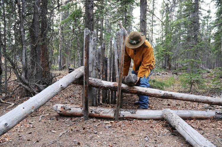 A Native American deadfall trap in Yukon, Canada.