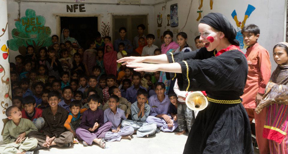 The Rickshaw Circus team performing in Pakistan.