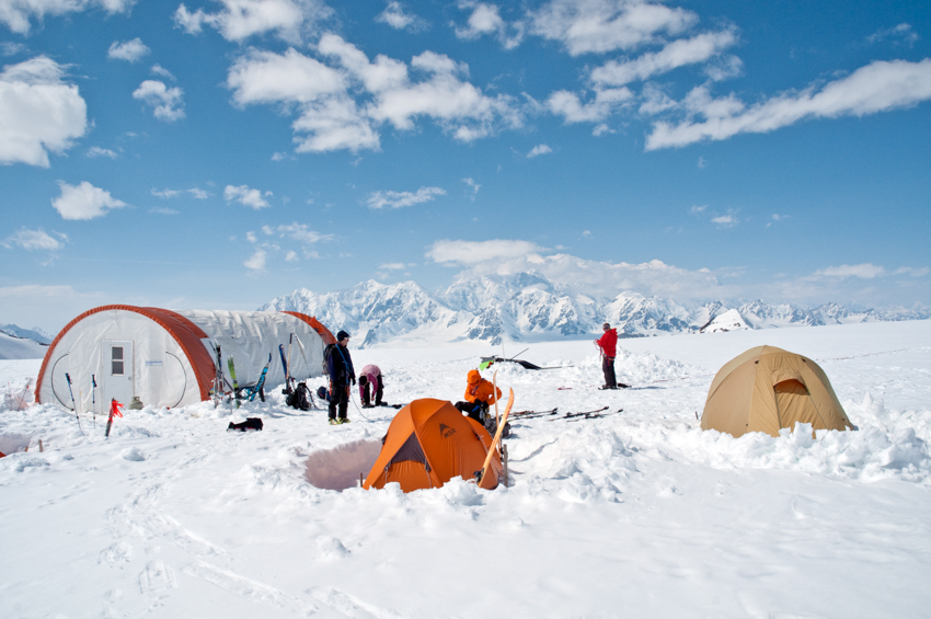 Glacier Camping with Mt. Logan in the distance, Yukon, Canada