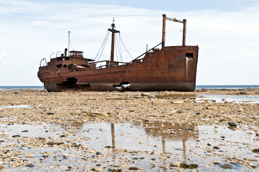 The MV Ithaca, a 1960 shipwreck on Hudson Bay, near Churchill, Manitoba, Canada