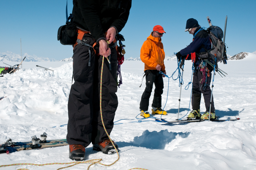 Roping up for some backcountry skiing, in the ice fields of the St. Elias Mountains, Yukon.