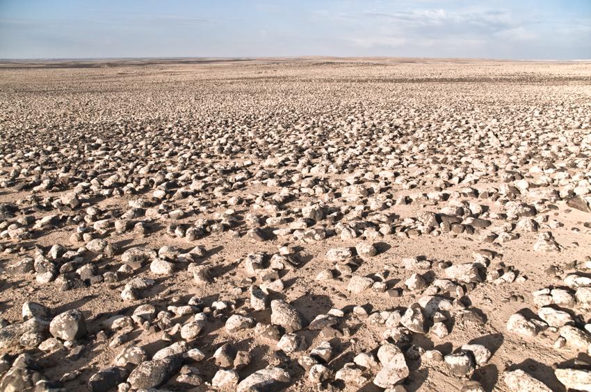 A rocky landscape in the Badia region of the Eastern Desert of Jordan