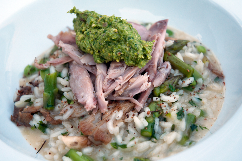 Rabbit and asparagus risotto with pesto, Quebec, Canada