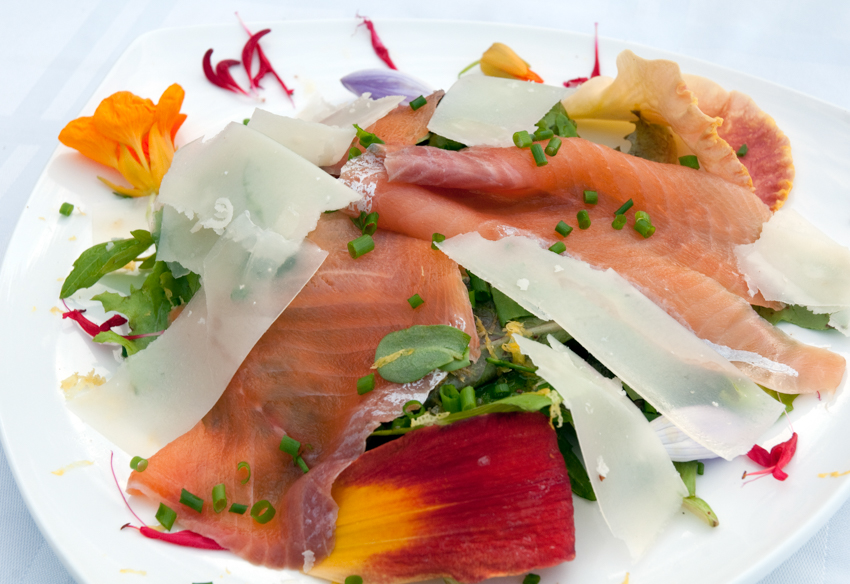 A smoked rainbow trout salad with artisanal cheese and edible flowers, Eastern Townships, Quebec, Canada