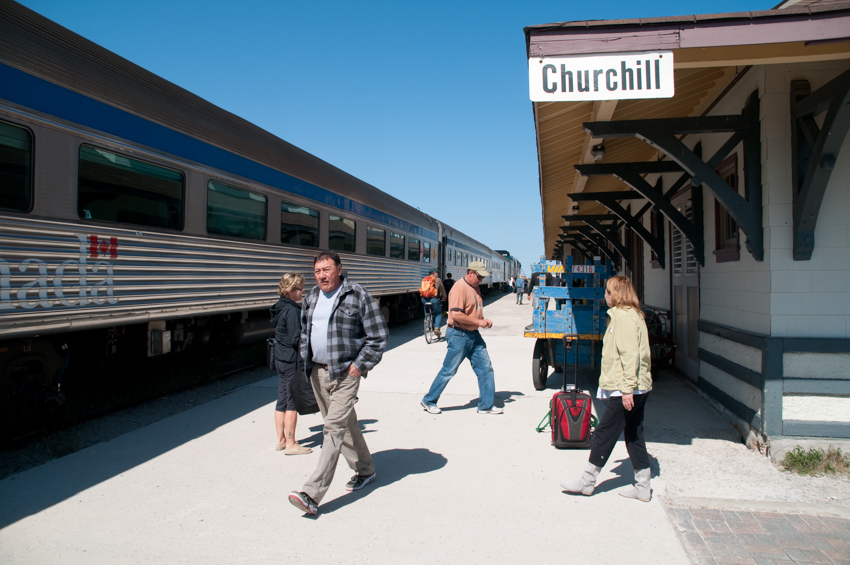 The VIA RAIL train station in the town of Churchill, Manitoba, Canada