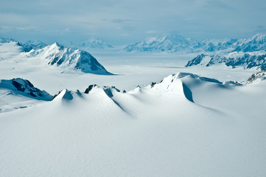 Above the ice fields of the St. Elias Mountains in Kluane National Park, Yukon, Canada.