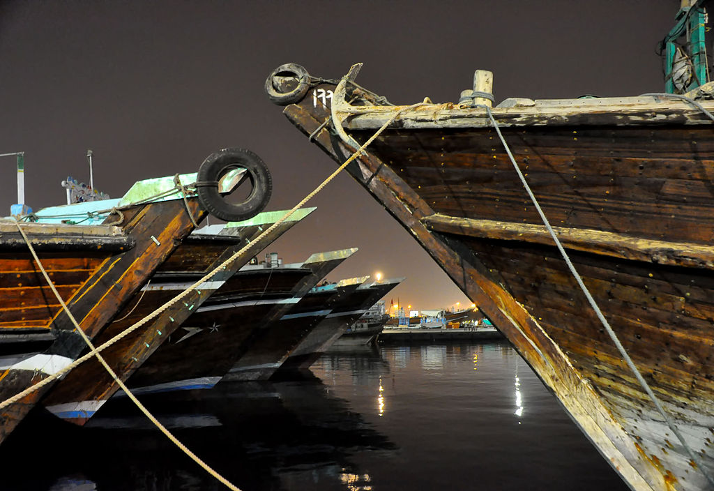 Dhow ships moored at the dhow wharfage, Dubai, UAE