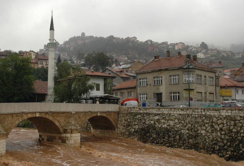 A view of the Miljacka River running through the centre of Sarajevo, Bosnia-Herzegovina