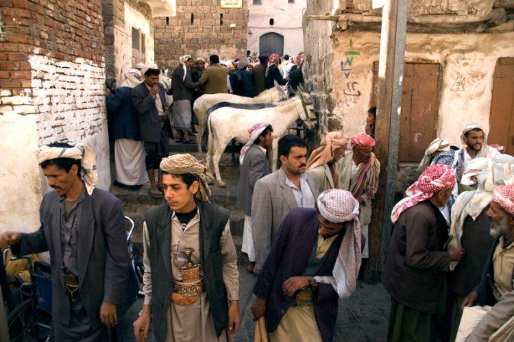 The donkey market in the old city of Sana'a, Yemen.