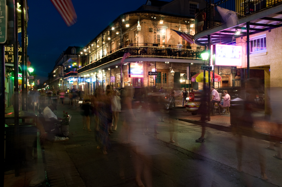 The French Quarter of New Orleans by night.