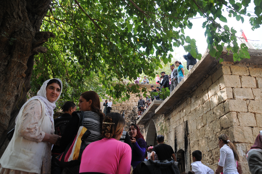A crowd of Yezidi festival goers in Lalish in Northern Iraq.