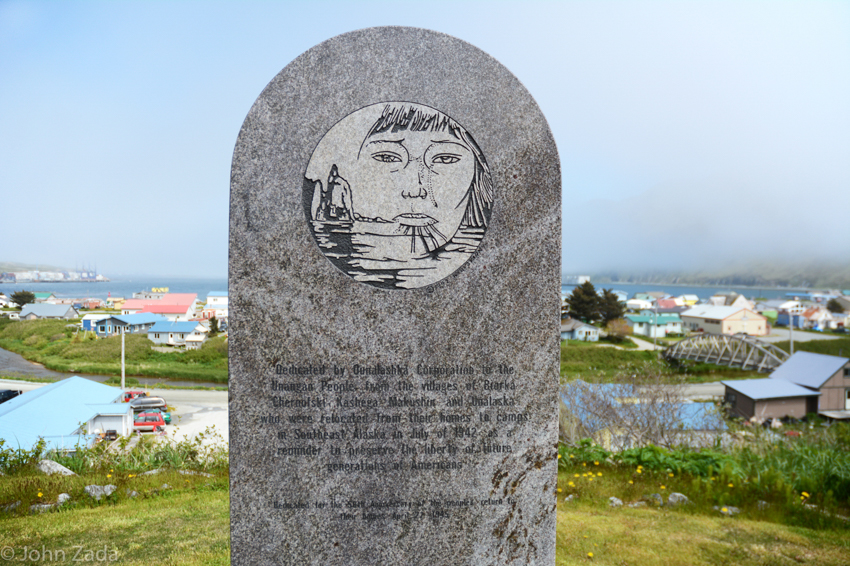 A monument to the Unangan evacuation, Unalaska, Aleutian Islands, Alaska