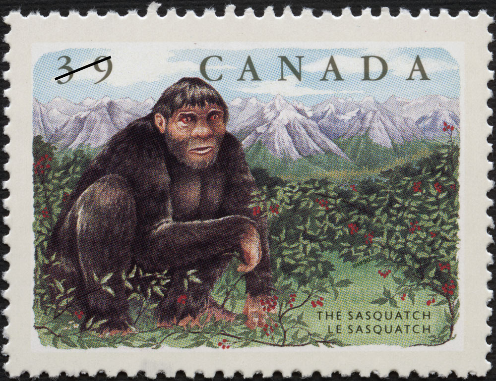 Image of a Sasquatch postage stamp from Canada