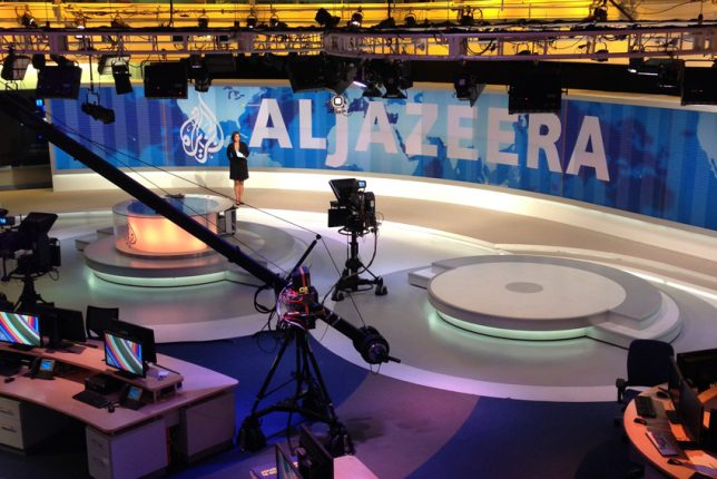 The television studio of Al Jazeera English in Doha, Qatar