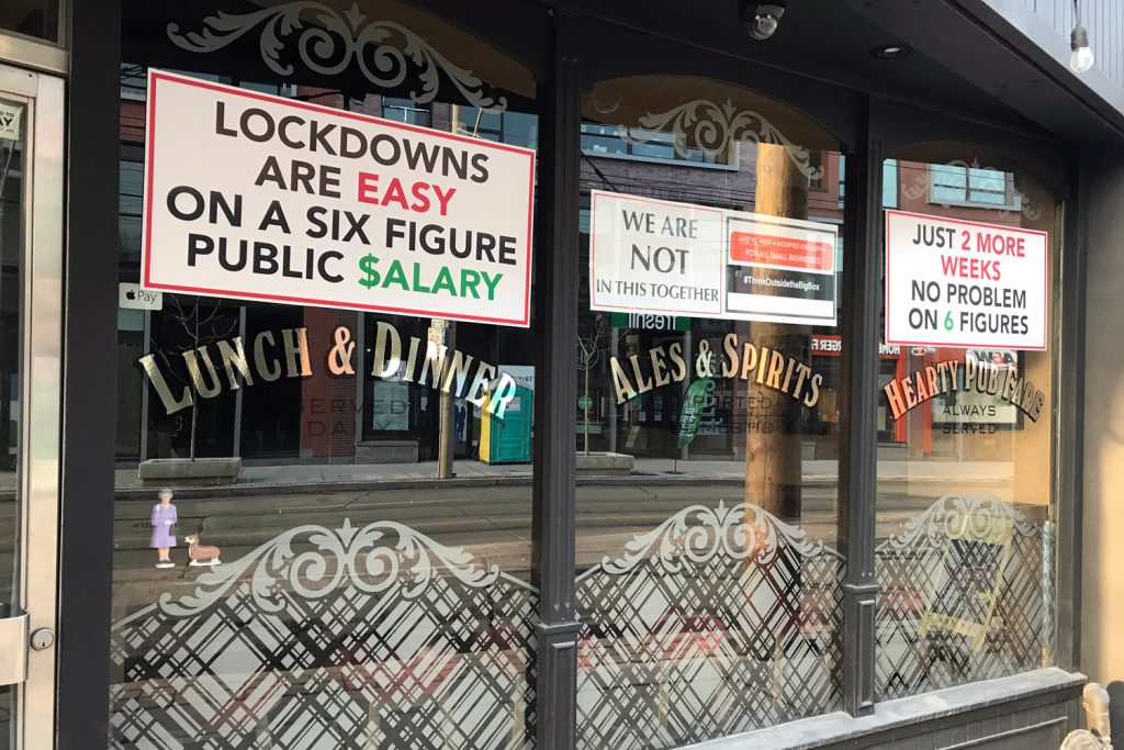 A Toronto pub closed during a COVID-19 lockdown