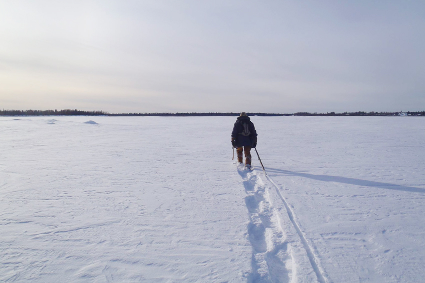 A man walks in the boreal forest near the town of Moose Factory, Ontario, Canada