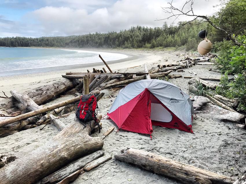 Nissen Bight campsite at Cape Scott Provincial Park, Vancouver Island