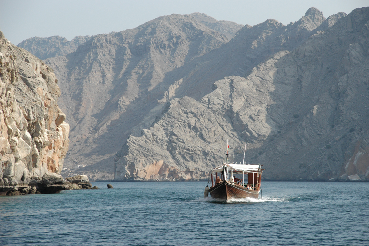 A dhow boat cruise in the Musandam region of Oman.