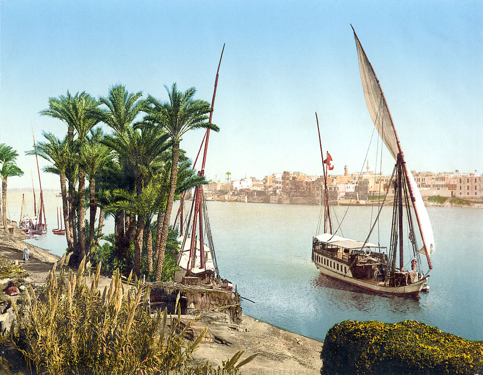 A felucca boat sails on the Nile in Cairo, Egypt.