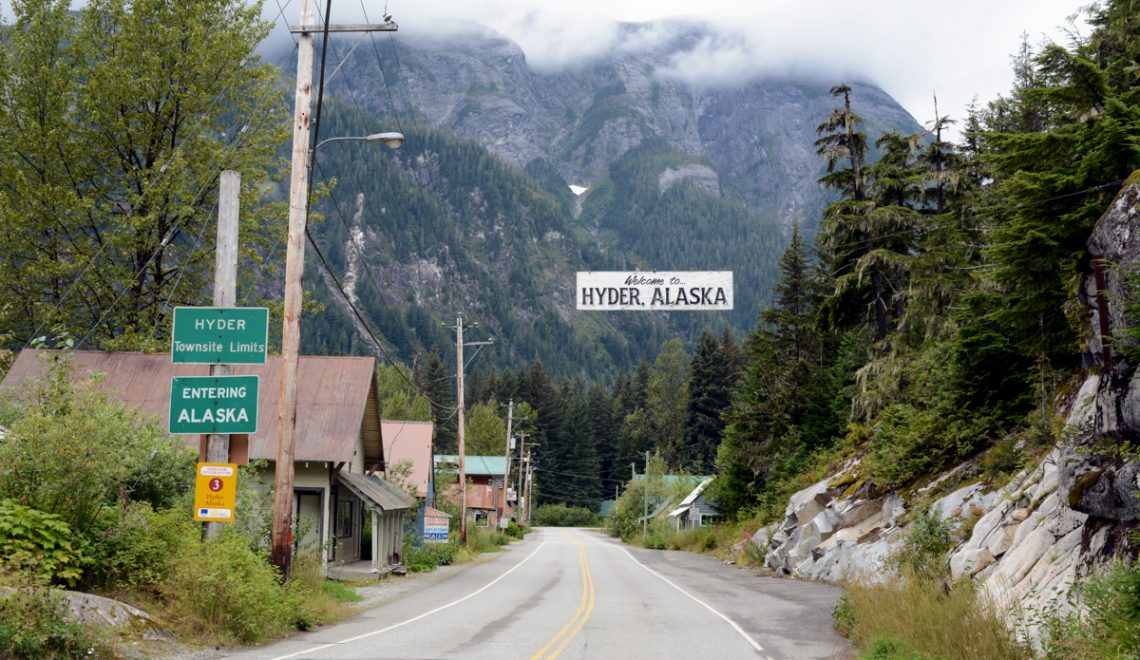 The border crossing at Hyder Alaska, USA.