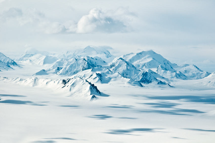 Glaciers and mountains over the icefields of Kluane National Park, Yukon, Canada.